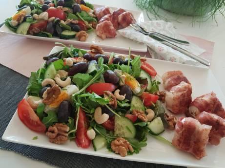 Salade met geitenkaas en spek