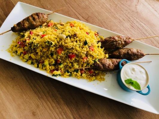 Gegrilde Arabische vleesspiesjes