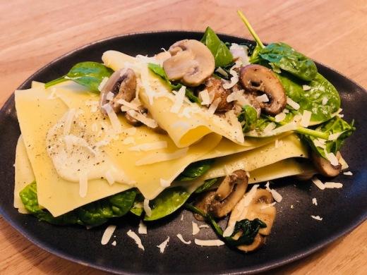 Lasagne met champignons & bladspinazie