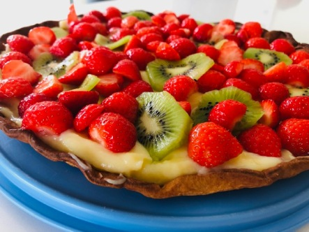 Aardbei-kiwi taart met pudding